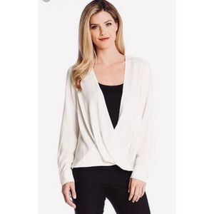 Karen Kane White Crossover High Low Blouse M